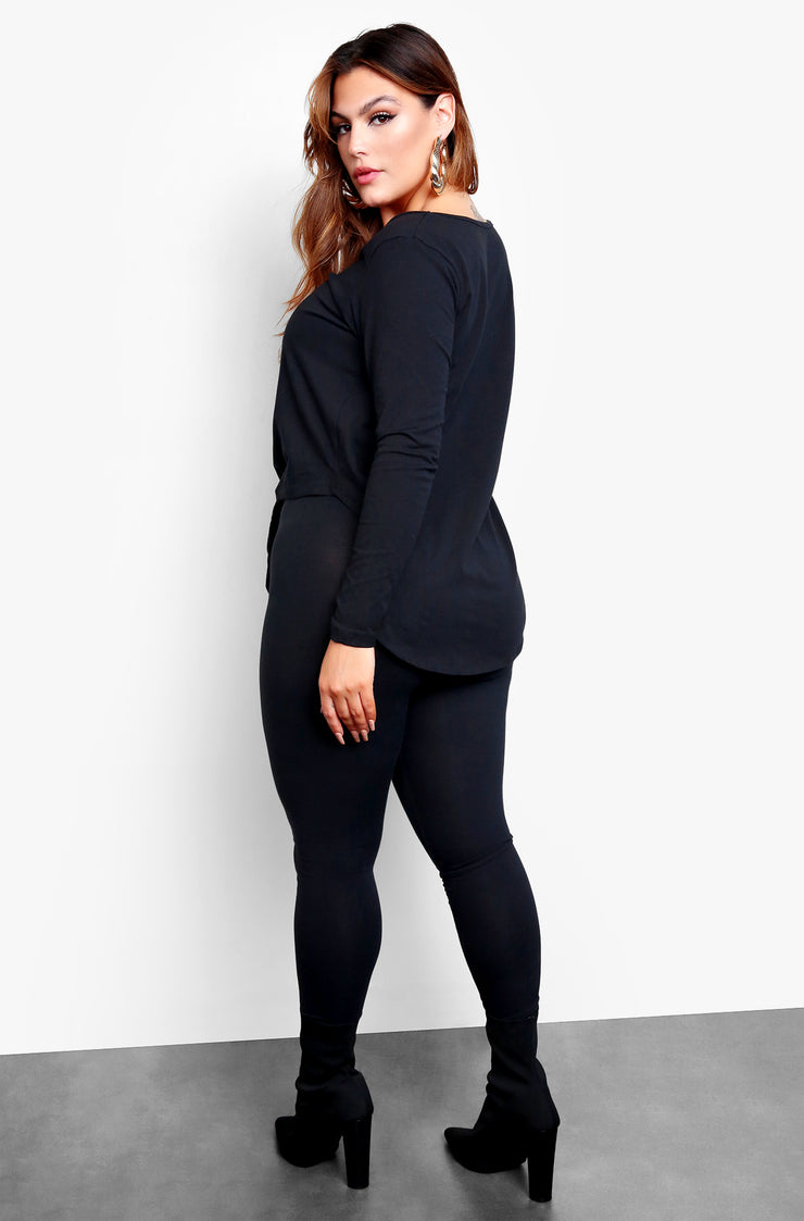 Black Long Sleeve Tie Front Top & Matching Pants Set Plus Sizes