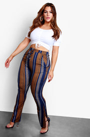 Navy Blue Stripe Straight Leg Pants