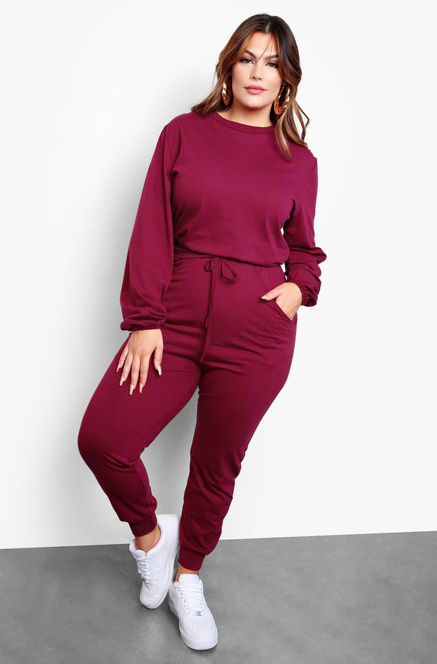 Burgundy High Waisted Drawstring Joggers