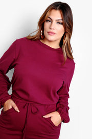 Burgundy Long Sleeve Crewneck Top