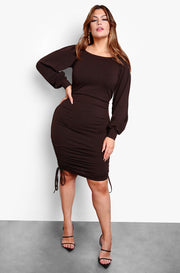 Brown Peasant Top Ruched Midi Dress Plus Sizes