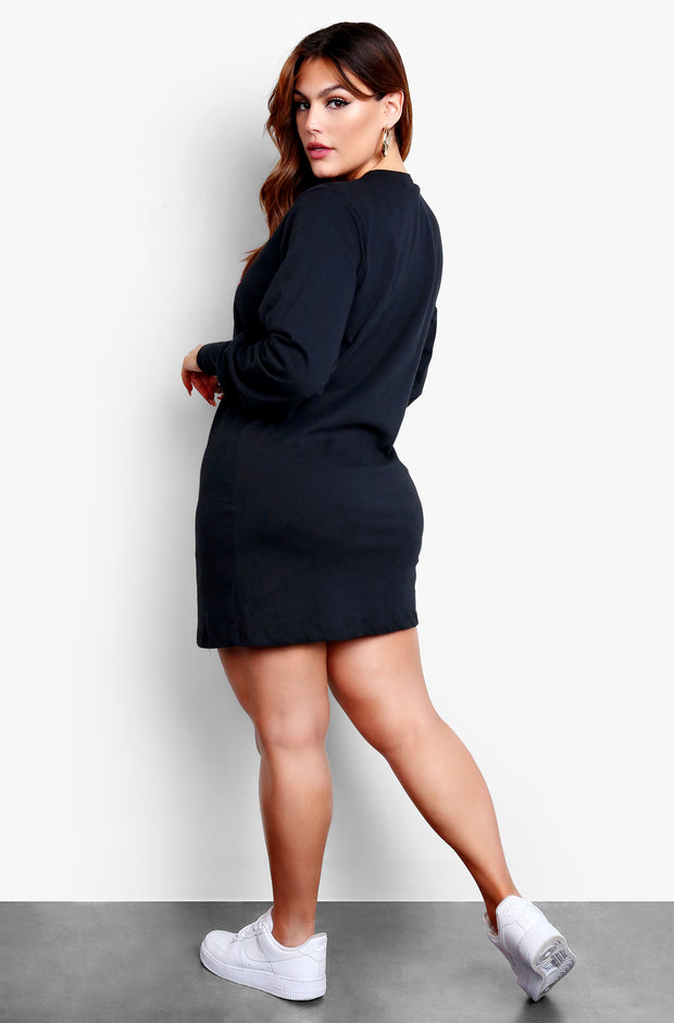 Black Long Sleeve Oversized Mini T-Shirt Dress Plus Sizes