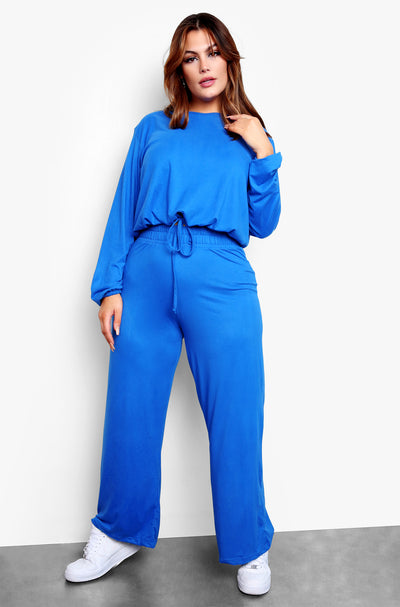 Royal Blue Oversized Top & Wide Leg Pant Set