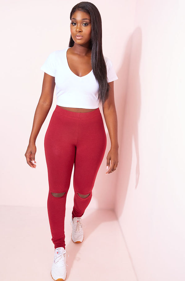 Burgundy Knee Cut-Out High Waist Leggings Plus Sizes