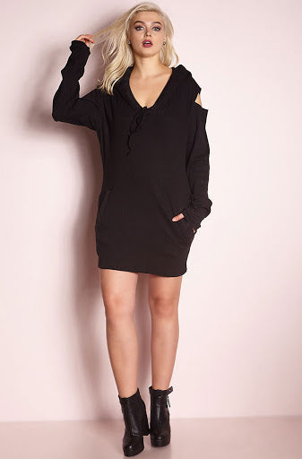 Black Hoodie Cut-Out Shift Mini Dress plus sizes