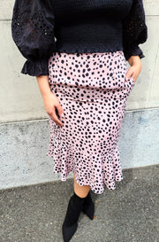 Nude Polka Dot Ruffle Slip Midi Skirt Plus Sizes