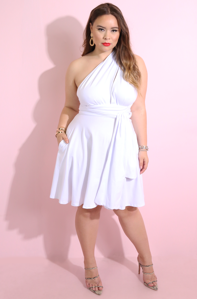 White Multiway Mini Skater Dress Plus Sizes