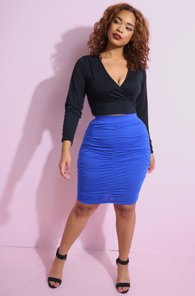 Royal Blue Ruched Bodycon Mini Skirt Plus Sizes  Plus Sizes