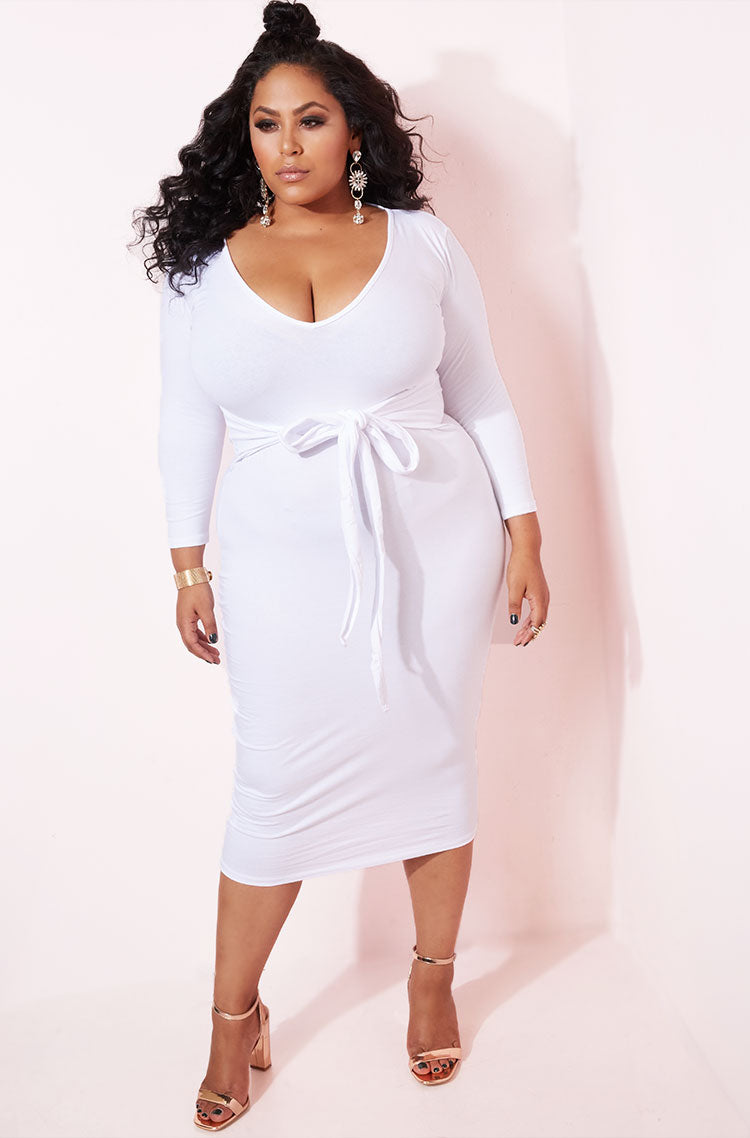 White Waist Tie Detail Dress plus sizes