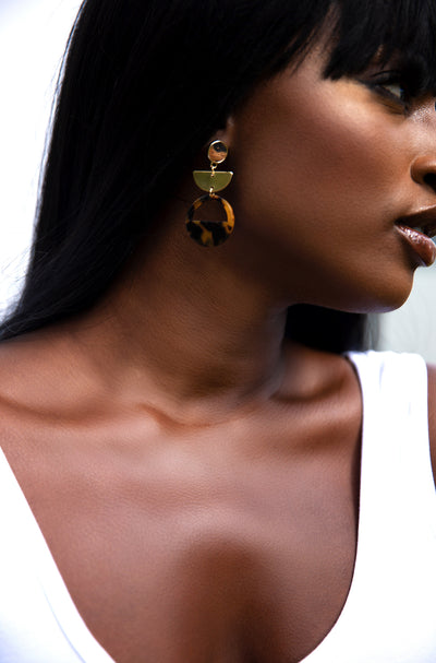Gold Tortoise Drop Earrings