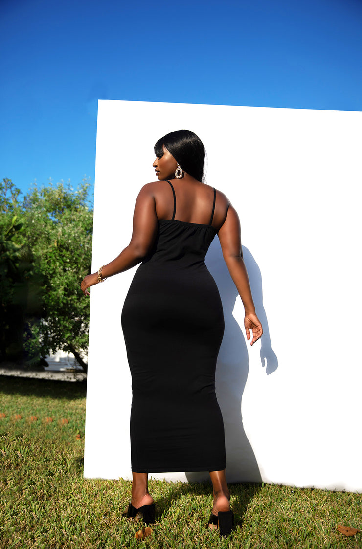 Black Essential Strappy Bodycon Maxi Dress