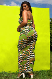 Green V-Neck Strappy Maxi Dress Plus Sizes