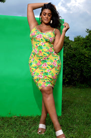 Yellow Floral V-Neck Bodycon Mini Dress Plus Sizes