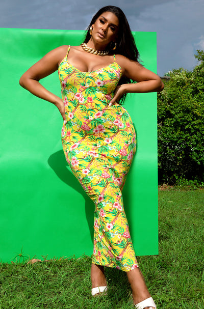 Yellow Floral V-Neck Maxi Dress Plus Sizes