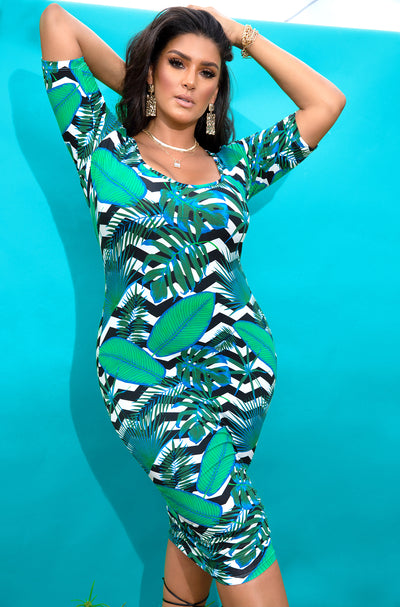 Green Scoop Neck Midi Dress Plus Sizes