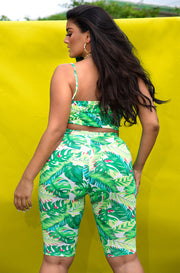 Green V-Neck Tank Crop Top & Bermuda Leggings Set Plus Sizes