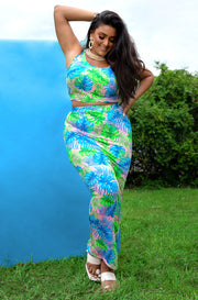 Blue Tank Crop Top & Maxi skirt Two Piece Set Plus Sizes