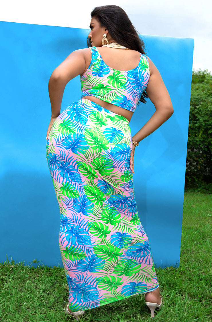 "Rebdolls ""Passionfruit"" Tank Crop Top & Maxi skirt Two Piece Set - Blue"