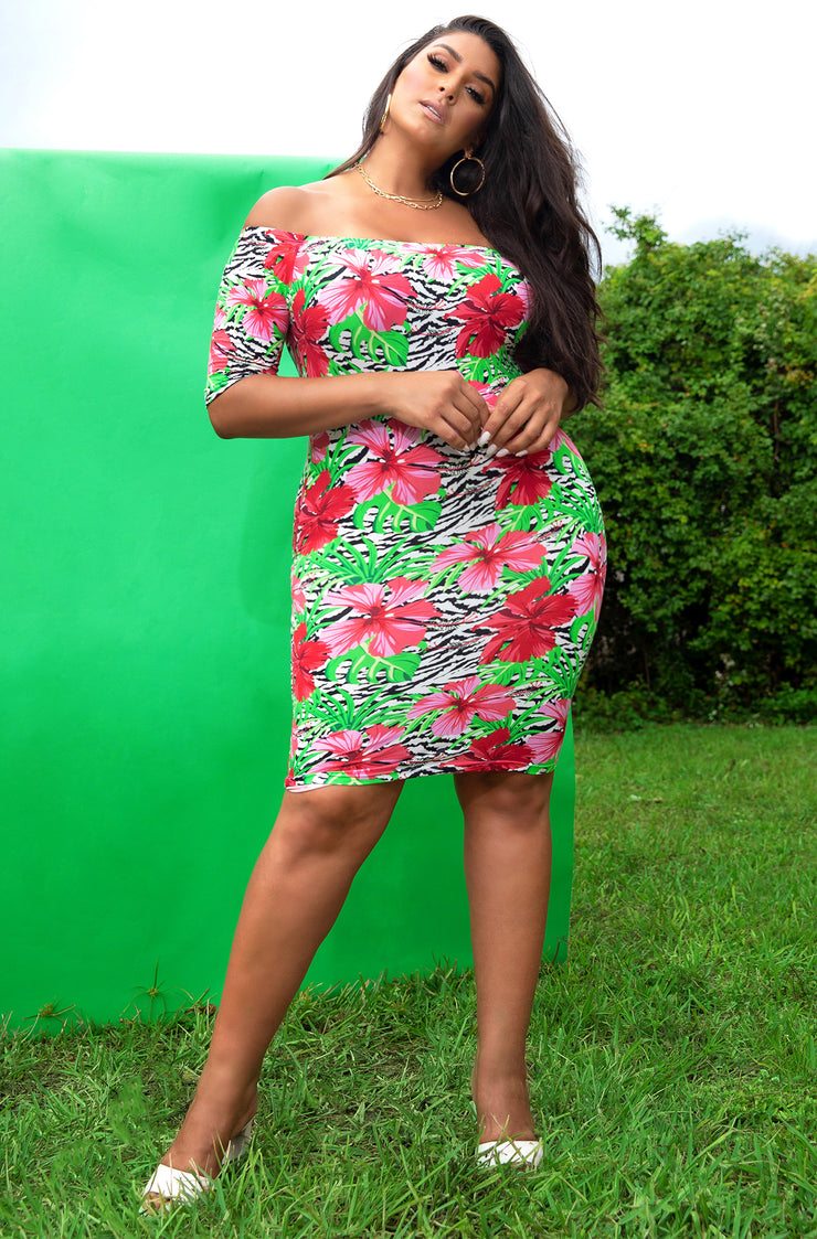 Red Floral Over The Shoulder 3/4 Sleeve Mini Dress Plus Sizes