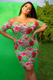 Floral Over The Shoulder 3/4 Sleeve Mini Dress Plus Sizes