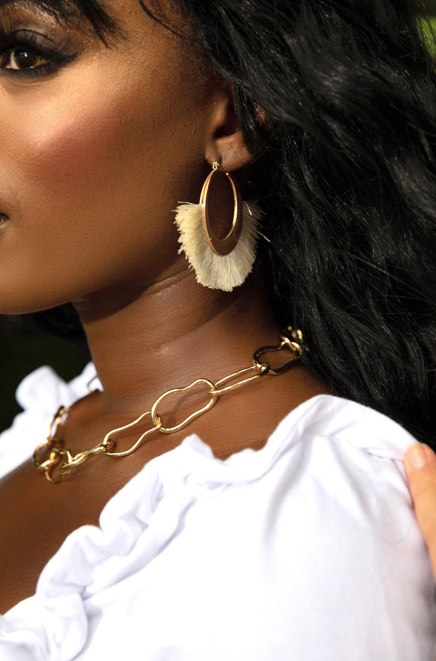 Ivory Fringe Hoop Earrings