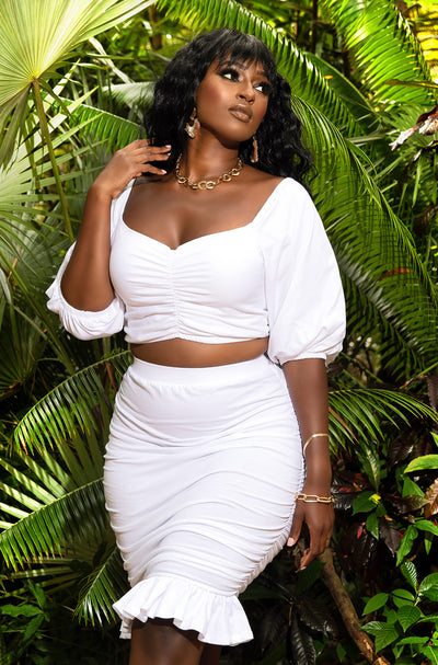 White Ruched Peasant  Top Plus Sizes