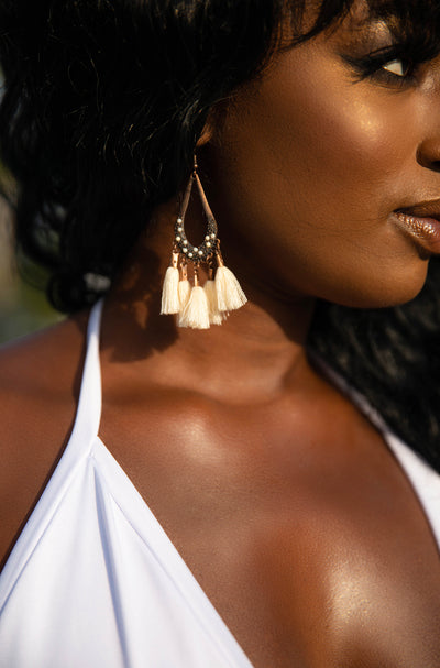 Ivory Fringe Drop Earrings