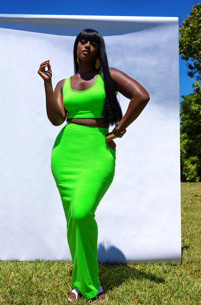 Lime Green Essential Bodycon Maxi Skirt Plus Sizes