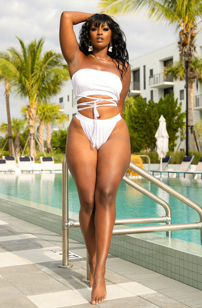 White High Cut Swim Bottom Plus Sizes