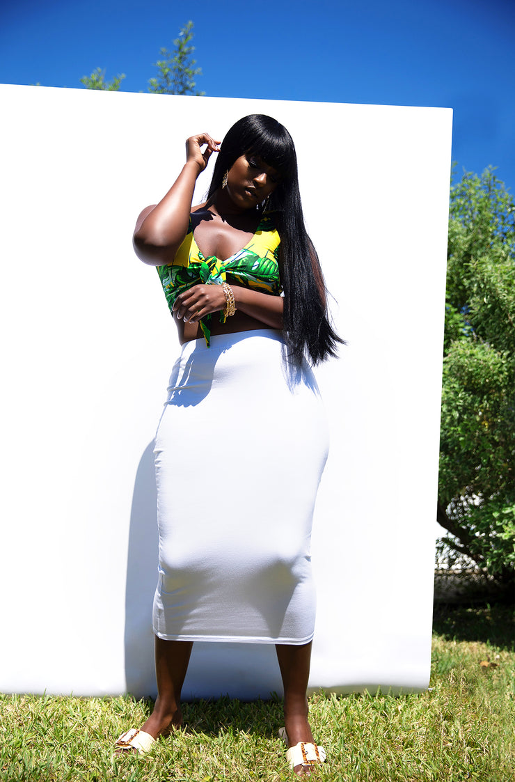 White Essential Bodycon Midi Skirt Plus Sizes