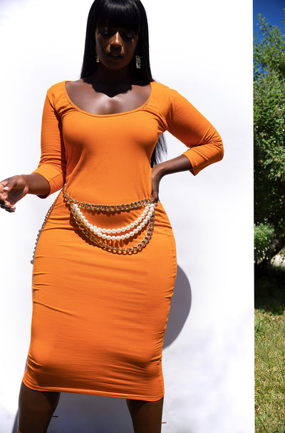 Orange Essential Scoop Neck 3/4 Sleeve Midi Dress Plus Sizes