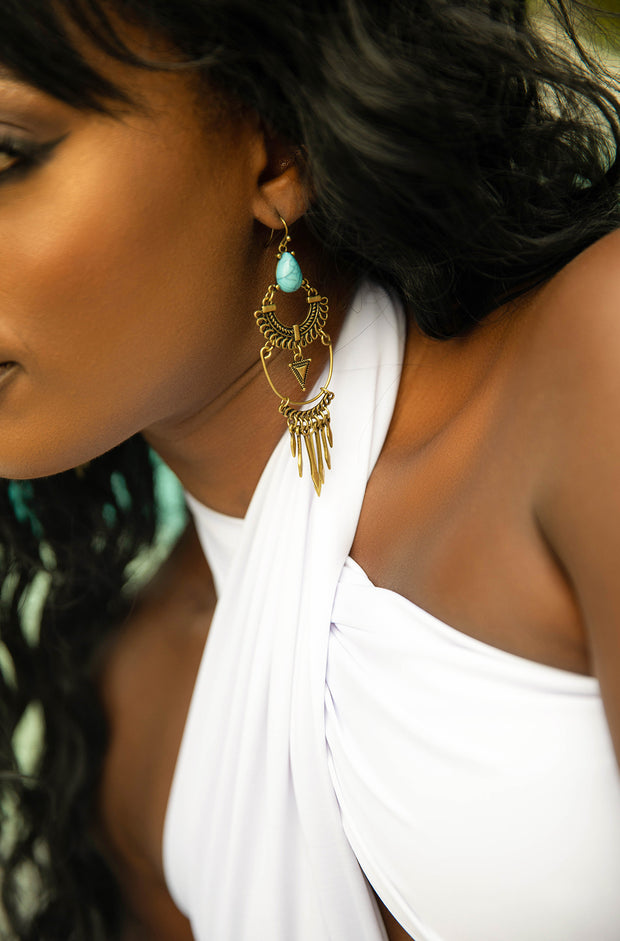 Turquoise Metal Drop Earrings