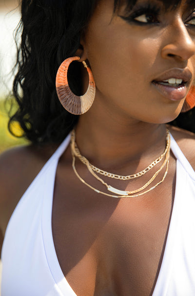 Tan Multi Tone Hoop Earrings