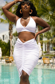 White Ruched Mini Skirt Cover Up Plus Sizes