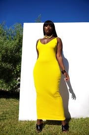 Yellow Essential Strappy Bodycon Maxi Dress