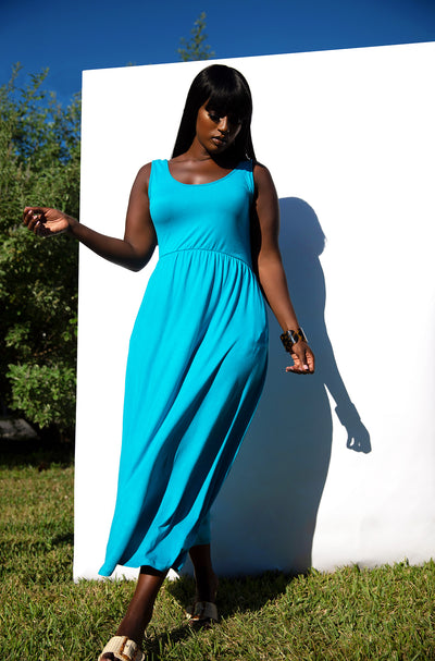 Turquoise Essential Tank Skater Maxi Dress with Pockets Plus Sizes