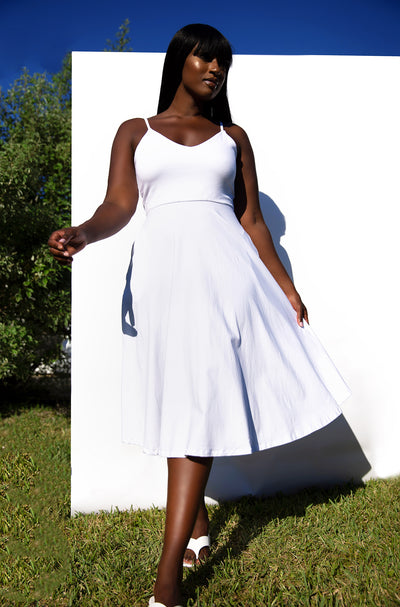 White Essential Strappy Skater Midi Dress w. Pockets