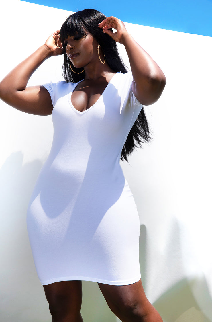 White Essential Short Sleeve V-Neck Bodycon Mini Dress Plus Sizes