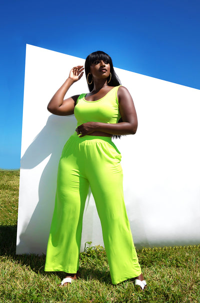 Lime Green Palazzo Pants with Pockets Plus Sizes