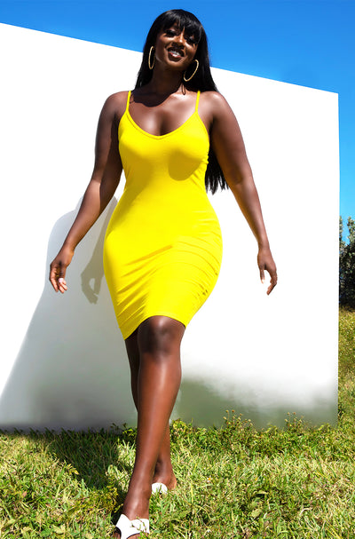 Yellow Essential Plus Size Strappy Bodycon Mini Dress