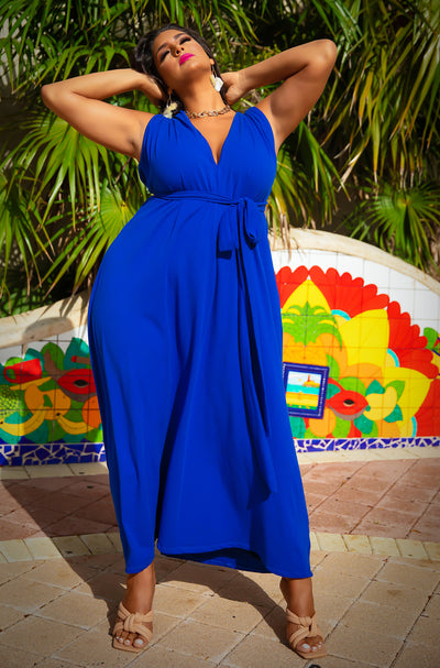 Blue Ruched Shoulder Maxi Dress Plus Sizes