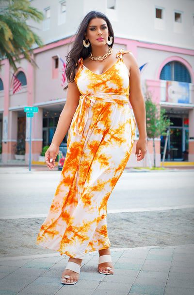 Orange Relaxed Maxi Dress w. Turban Plus Sizes