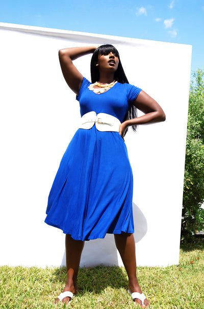 Royal Blue Essential V-Neck Skater Midi Dress w. Pockets Plus Sizes