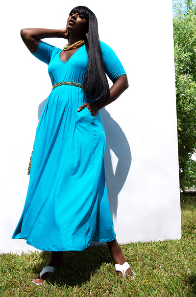 Turquoise Essential V-Neck Skater Maxi Dress w. Pockets Plus Sizes