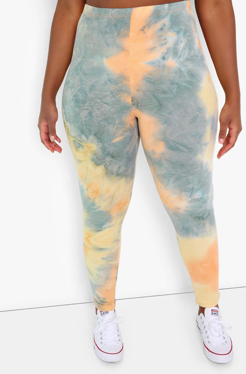 Orange Tie Dye High Waist Leggings Plus Sizes