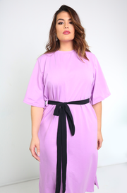 lilac Oversized Midi Dress with belt plus sizes