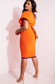 Orange Bodycon Midi Skirt plus sizes