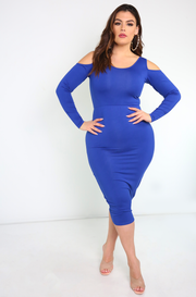 Royal Blue Cold Shoulder Bodycon Midi Dress Plus Sizes