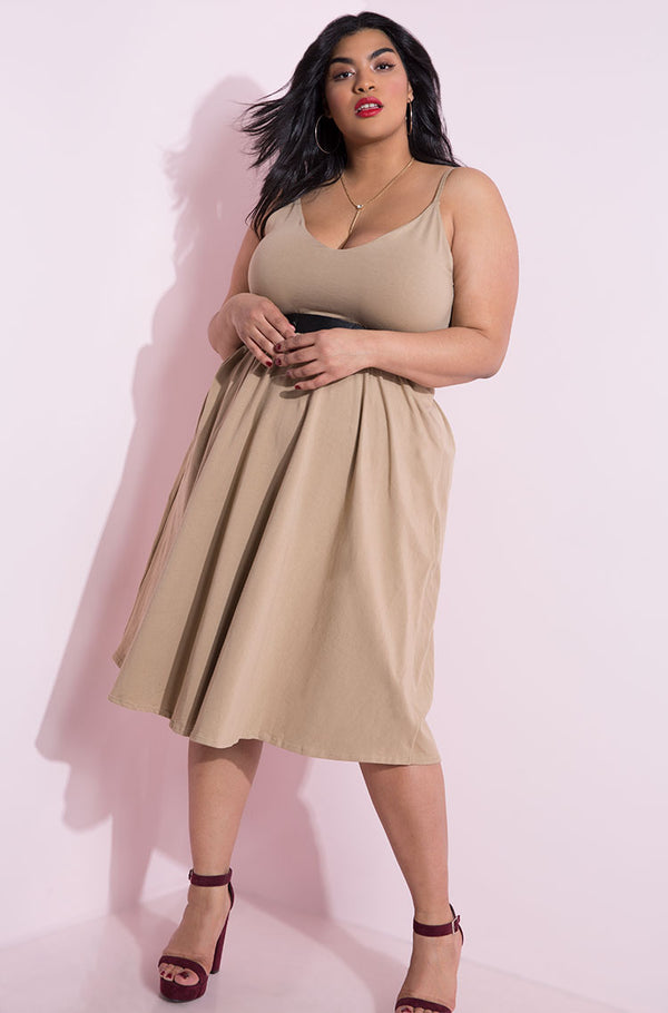 Mocha V-Neck Midi Skater Dress plus sizes