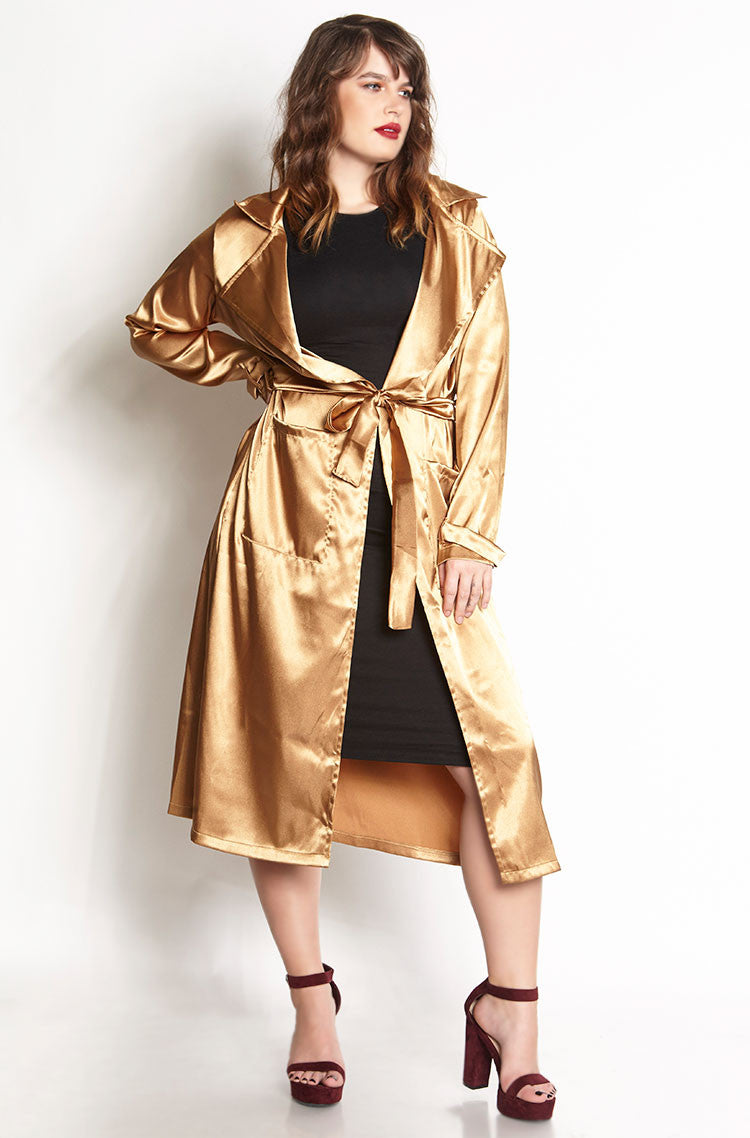 Gold Satin Trench Coat plus sizes